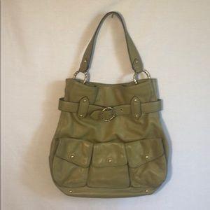 ANTONIO MELANI purse green and gold tone buckle